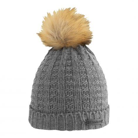 Mütze Damen Bommel grau