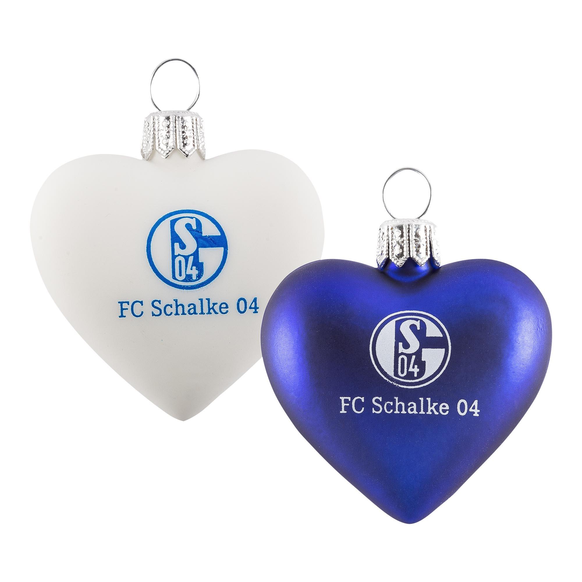 Schalke Tannenbaum.Glas Herz 2er Pack Blau Und Weiß