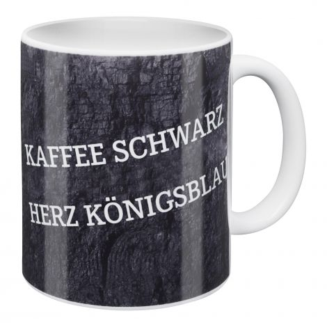 Kaffeebecher Kaffee Schwarz - Herz Königsblau