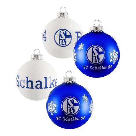 Weihnachtskugeln 4er Pack Blau und Weiß